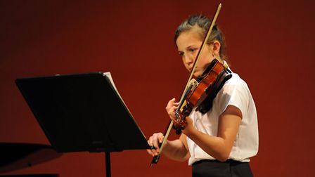 Rehearsals for the West Suffolk Young Musician concert at the Apex in Bury. Francesca Akehurst on vi