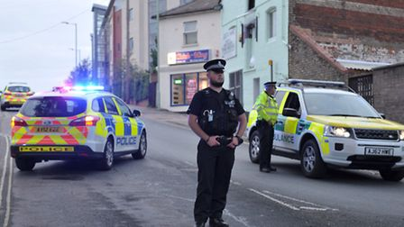 Police attend the scene of a major incident near the train station in Bury st Edmunds on Tuesday 4th