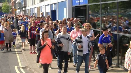 Thousands of fans queue at Portman Road for the Ipswich Town open day.