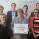 Suffolk Coastal MP Dr Therese Coffey (centre) with members of her team and Fern Howard (left) from t