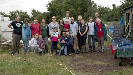Members of the farm group at Oak-Tree Low Carbon Farm in Ipswich