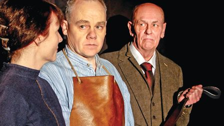 Lucy Hammond (Maggie), Peter Long (Will Mossop) and Peter Sowerbutts (Hobson) in RoughCast productio