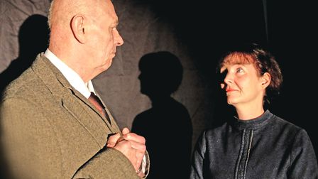 Lucy Hammond (Maggie) and Peter Sowerbutts (Hobson) in RoughCast production of Hobson's Choice. Pict
