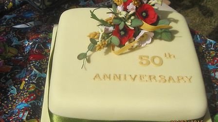 A celebratory cake made by a member's daughter.