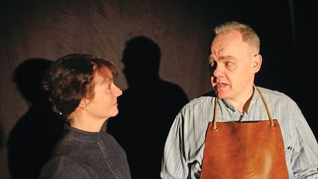 Lucy Hammond (Maggie) and Peter Long (Will Mossop) in RoughCast production of Hobson's Choice. Pictu