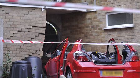 A car crashed into the side of a house on Brett Avenue in. Hadleigh on Wednesday.