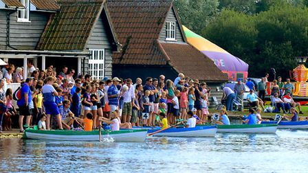 Races on Thorpeness Meare during the 102nd Thorpeness Regatta.