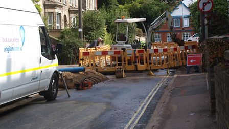 Traffic delays caused by a burst water main in Sudbury