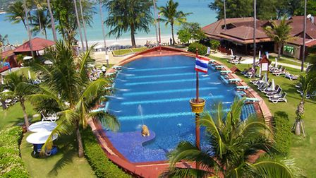 The unusual boat-shaped pool at the Imperial Boat House Resort, Koh Samui