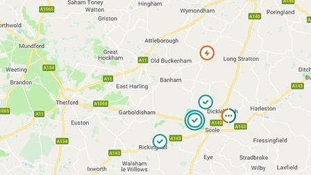 The south of Norfolk has seen a number of power cuts today. PHOTO: UK power network
