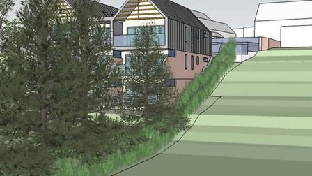 Artist impression of planned new apartments in Diss as they would look from the Heritage Wildlife Ga