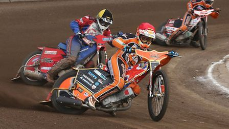 Fen Tigers' Connor Mountain (red) leads Stoke's Chris Widman (yellow) and Connor Coles (blue)