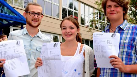 Farlingaye High School students celebrate their A Level results. David Nunn 4A*s B As (L to R) Katie