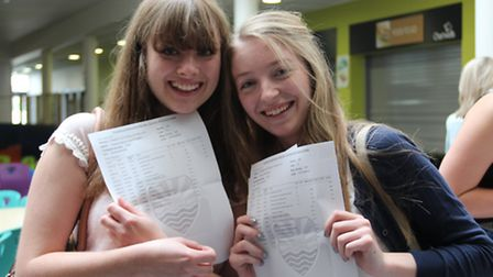 Abigail Fossett and Emma Stanbridge with their results at Felixstowe Academy.