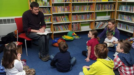 Childrens author, James Campbell during a visit to Stowmarket Library.