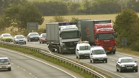 There has been an oil spill on the A14 westbound.