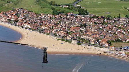 An aerial shot of Clacton where an assault happened on Sunday.