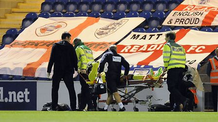 Sam Walker is stretchered off against Reading tonight