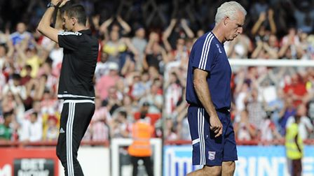 Food for thought for Mick McCarthy as he makes his way back to the changing rooms after Ipswich thro