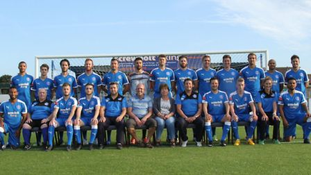 Leiston 2015/16 squad with sponsors (Screwbolt Fixing) in centre