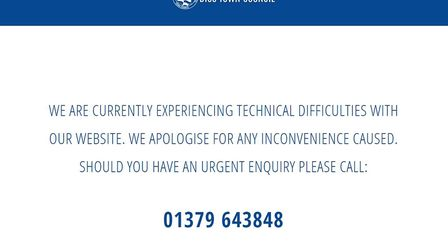 Diss Town Council's website has been down since Monday. PHOTO: Diss Town Council website