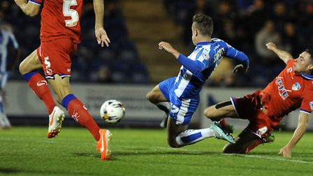 Sammy Szmodics hits the inside of the Olham post with this second half shot