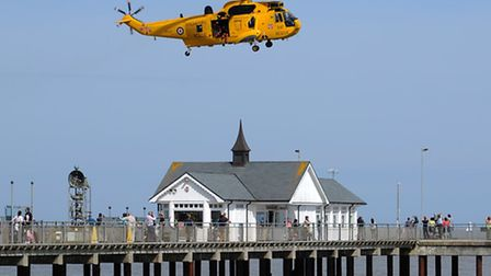 The RAF Search and Rescue Sea King from 22 Sqn at Wattisham searches the sea at Southwold for the mi