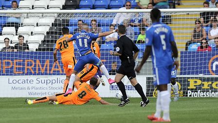 Marcus Maddison scores Peterborough's winner against Colchester on Saturday
