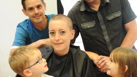 Kayleigh Coleman gets her head shaved for Macmillan in support of friend James Rioux Pictured with J