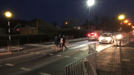 Street lights near the new pedestrian crossing on Victoria Road in Diss have been installed with whi