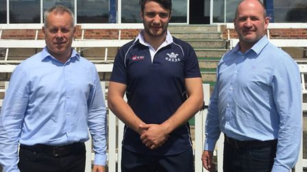 Oxford University rugby ceorge Messum wearing the new shirt supplied by STC Teamwear, together with