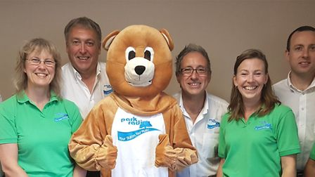Parky Bear with the Park Radio volunteers and team. Picture: Park Radio