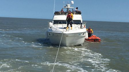 The lifeboat towing 'Jodi' after the incident.