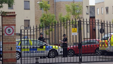 Police at the scene of the shooting at Forum Court in Bury St Edmunds.