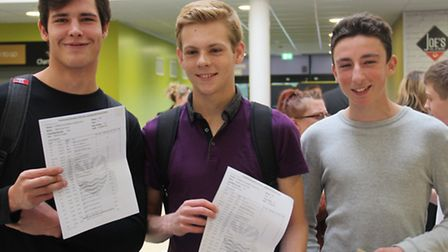 Nikita Pond, Matthew Varley and Callum Burrows with their GCSE results at Felixstowe Academy.