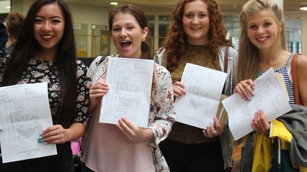 Kerri Cheung, Bethanie Hurry, Amelia Sills and Ellie Haste with their GCSE results at Felixstowe Aca