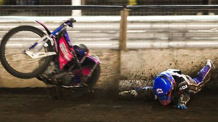 Cameron Heeps crashes spectacularly in the final heat of the Ipswich v Workington meeting at Foxhall