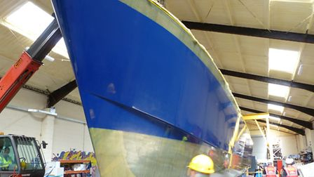 Hull structures have been completed on CTruk's construction of a new 17m. survey catamaran for the P