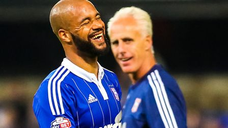 David McGoldrick and manager Mick McCarthy share a joke at the end of Ipswich Town's 2-0 home win ov