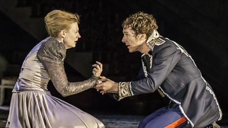 Anastasia Hille as Gertrude and Benedict Cumberbatch as Hamlet in the production of Hamlet at the Ba
