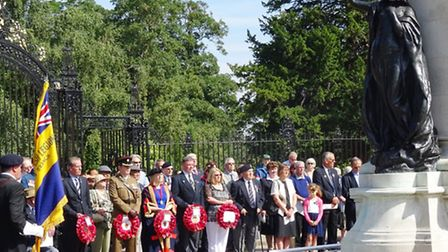 The VJ Day commerative service at Colchester War Memorial