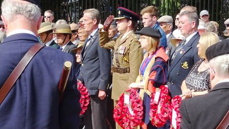 (From left) Major Nick Berry, Deputy Chief of Staff of Colchester Garrison; Cllr Julie Young, deputy
