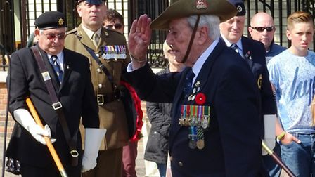 Roy Welland, 94 from Colchester, who served with Royal Berkshire Regiment in India, salutes after la
