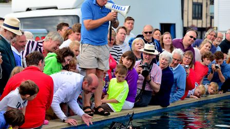A competitor launches his boat in the egg carrying boat race at Aldeburgh on the second day of the t