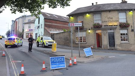 Police attend the scene of a major incident near the railway station in Bury St Edmunds on August 4.