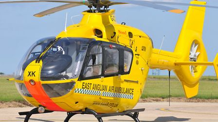 An East Anglian Air Ambulance helicopter.