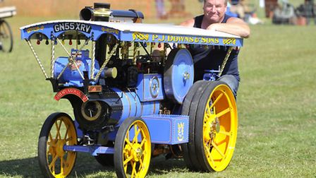 Peter Downs drives his engine at the Museum of East Anglian Life's Craft and Steam event in Stowmark
