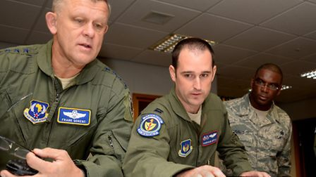 US Air Force General Frank Gorenc and US Air Force Chief Master Sergeant James Davis at RAF Mildenha