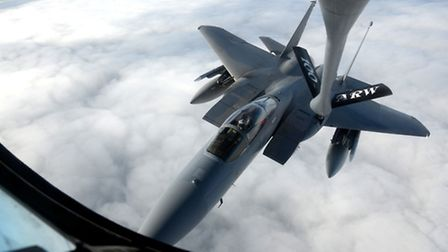 F-15 jet from RAF Lakenheath's 48th Fighter Wing is refuelled.