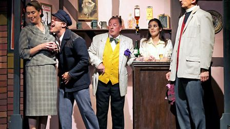 (left to right) Sarah Ogley as Lady Chesterford, Rikki Lawton as Dan the Poacher, Clive Flint as Mr